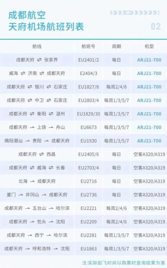 【优行·资讯】成都天府国际机场航班计划公布!